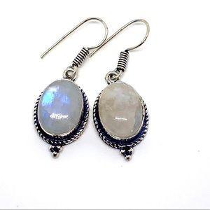 Quartz Antique Style Silver Dangle Earrings